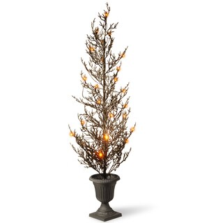 Black Plastic 48-inch Glittered Halloween Tree with Lights