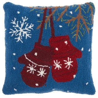Mina Victory Multicolor Holiday Mittens 18 x 18-inch Pillow by Nourison - Blue