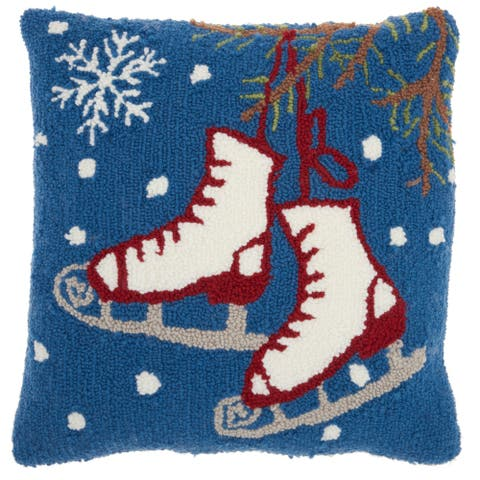 Mina Victory Multicolor Holiday Ice Skates 18 x 18-inch Pillow by Nourison