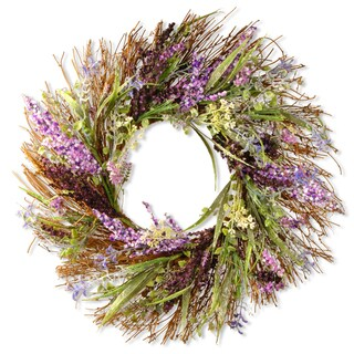 Mixed Leaf Plastic 22-inch Artificial Spring Wreath