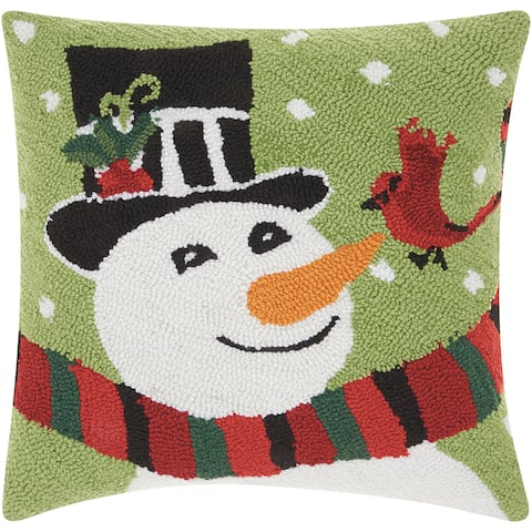 Mina Victory Home For The Holiday Multicolor Holiday Pillow (18-inch x 18-inch) by Nourison