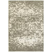 "Plush Abstract Ivory/Grey Polypropylene and Polyester Area Rug (9'10 x 12'10) - 9'10"" X 12'10"""