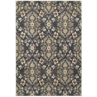 Style Haven All-over Floral and Vine Blue/Brown Polypropylene Area Rug (9'10 x 12'10)