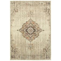 "Gracewood Hollow Northsun Medallion Ivory/ Brown polypropylene Area Rug - 9'10"" x 12'10"""