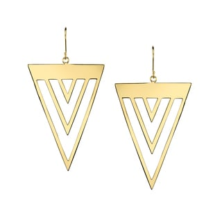 Gold-colored Brass Triangle Earrings
