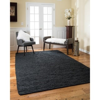 Natural Area Rugs Hand Loomed Barras Leather Rug, (6' x 9')