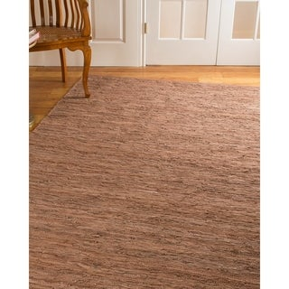 Natural Area Rugs Hand Loomed Biscayne Leather Rug, (6' x 9') with Bonus Rug Pad