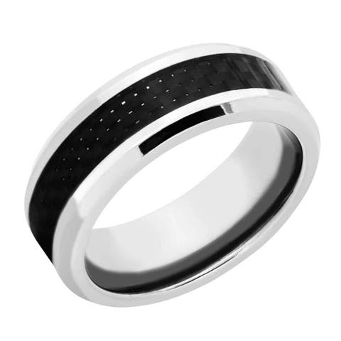 Men's Two-tone Titanium and Carbon Fiber Polished Band - Silver