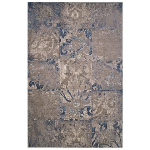 Vintage Collection Cream and Blue Checker Ornamental Rug - 5' x 8'