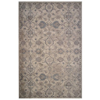 Vintage Collection Cream and Tan Delicate Florals Ornamental Rug 5'x8'