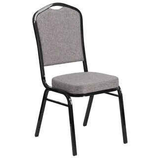 HERCULES Series Crown Back Stacking Banquet Chair with Fabric and 2.5-inch Thick Seat -Vein Frame (Option: Orange)