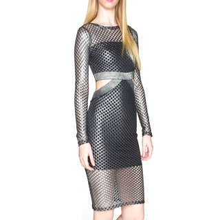 Sentimental NY Black Spandex Blend Fishnet Dress