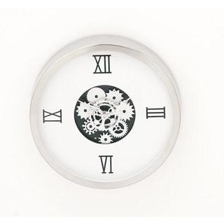 Urban Designs Industrial Gear White Steel Round Wall Clock