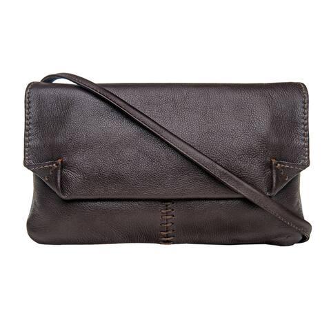 Hidesign Red/Tan/Brown Leather Handcrafted Crossbody Handbag