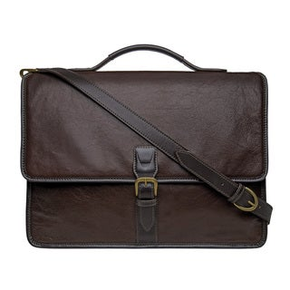 Hidesign Harrison Brown Buffalo Leather Laptop Messenger Bag