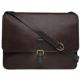 50ea199324 Hidesign Harrison Brown Buffalo Leather Laptop Messenger Bag
