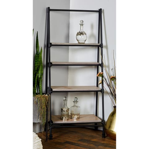 Industrial 56 Inch 6-Tier Wood and Iron Shelf Stand by Studio 350