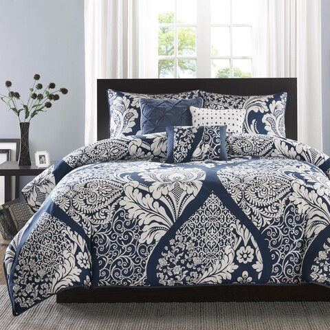Madison Park Marcella Indigo Cotton Printed 6 Piece Duvet Cover Set
