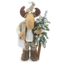 24-inches Decorative Moose With Matching Clothes, Mukluk Boots, and Evergreen Tree