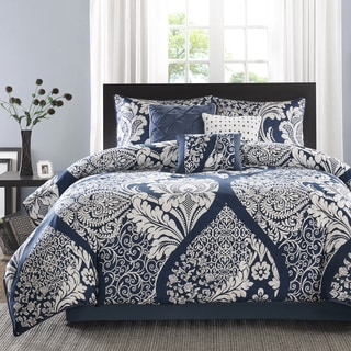 Madison Park Marcella Indigo Cotton Printed 7 Piece Comforter Set