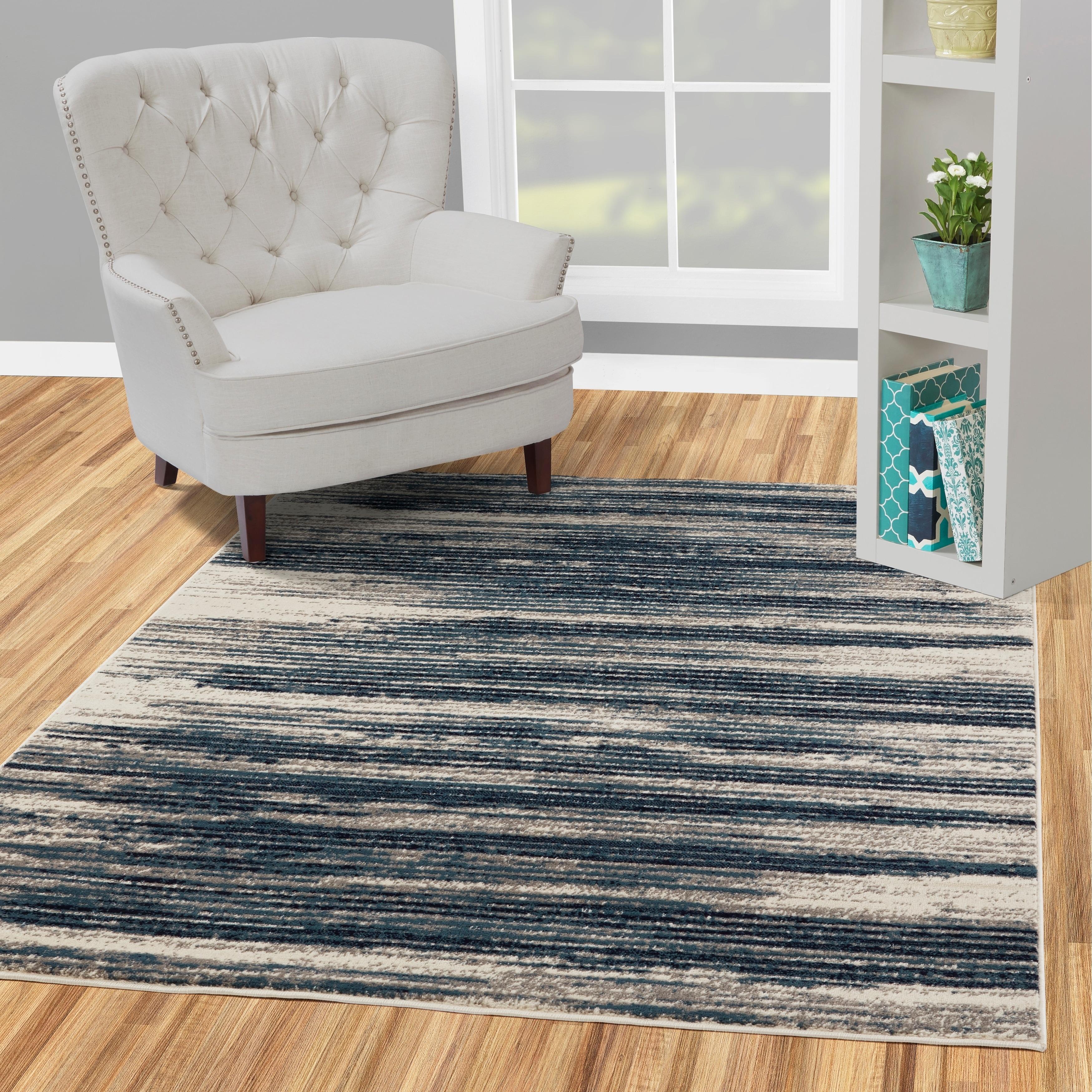 Jasmin Collection Stripes Blue and Beige Polypropylene Tea Area Rug (7'10 x  9'10) - 7'10