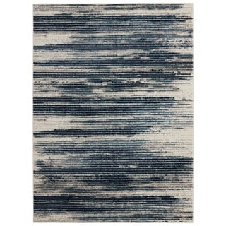 Jasmin Collection Stripes Blue and Beige Polypropylene Tea Area Rug (7'10 x 9'10)