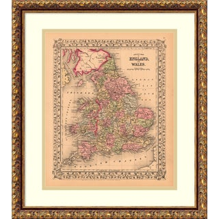 Framed Art Print 'County Map of England and Wales, 1867' by Ward Maps 18 x 21-inch