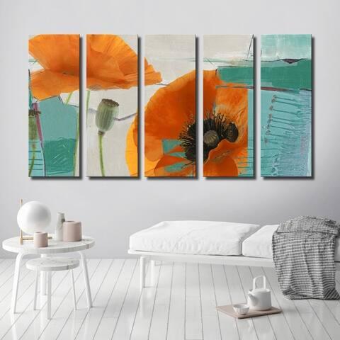 Ready2HangArt 'Painted Petals XXXIII' 5-Piece Canvas Wall Art Set