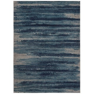 Jasmin Collection Stripes Navy and Beige Polypropylene Area Rug (7'10 x 9'10)
