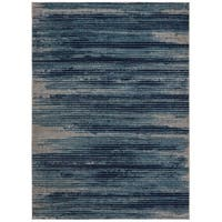 Jasmin Collection Navy/Beige Stripes Area Rug - 7'10 x 9'10