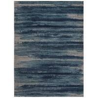 Jasmin Collection Navy/Beige Stripes Area Rug - 7'10 x 9'10