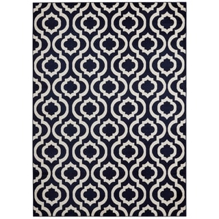 Jasmin Collection Moroccan Trellis Blue/Ivory Polypropylene Area Rug (7'10 x 9'10)