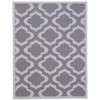 Anne Collection Moroccan Trellis Design Grey Synthetic Modern Non-skid Runner Rug (3'3 x 5')