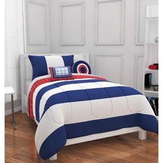 Navy/White Rugby Stripe 4-piece Comforter Set
