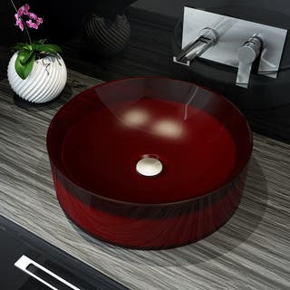 A&E Bath and Shower Meli Red Polymer 15.75-inch Round Basin Lavatory Sink