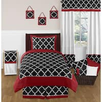 Sweet Jojo Designs 4-piece Red and Black Trellis Twin-size Comforter Set