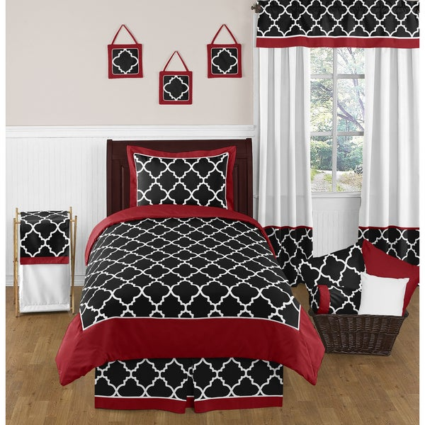 Sweet Jojo Designs 4-piece Red and Black Trellis Twin-size Comforter Set