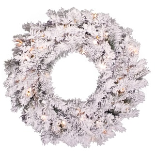 24-inch Flocked Alaskan Pine Wreath with 96 Tips