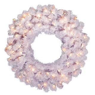 Crystal White 36-inch Wreath with 100 Clear Dura-lit Lights
