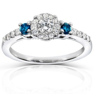 Annello by Kobelli 14k White Gold 2/5ct Blue and White Diamond Three Stone Engagement Ring