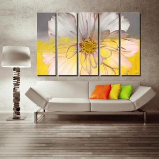Silver Orchid Wayne 5-piece 'Painted Petals XXXIV' Canvas Art Set