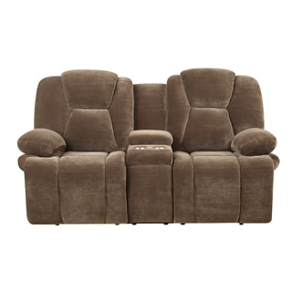 Emerald Caressa Brown Dual Reclining Loveseat with Console