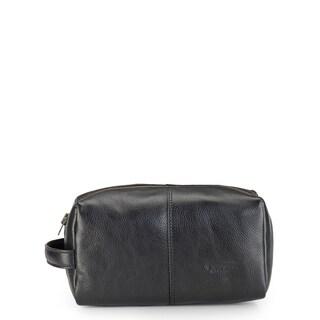 Phive Rivers Leather Wash Bag/Toilet Kit (Black)