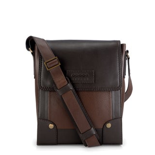 Phive Rivers Leather Messenger Bag (Brown)