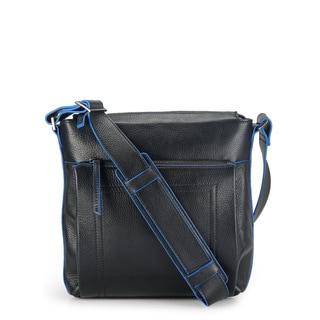 Phive Rivers Leather Messenger Bag (Black)
