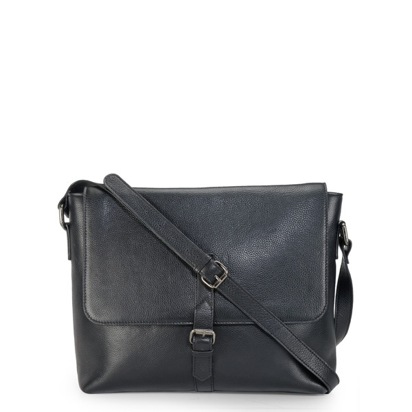 Handmade Phive Rivers Leather Messenger Bag (Black) (Italy)