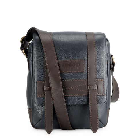 Handmade Phive Rivers Leather Messenger Bag (Blue) (Italy)
