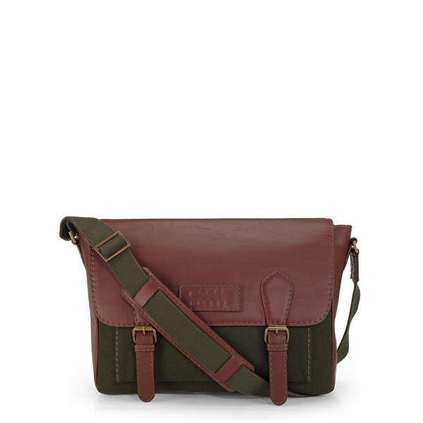 Handmade Phive Rivers Leather Messenger Bag (Green) (Italy)
