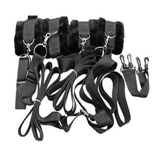 Bondage Bed Straps with Furry Cuffs