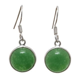Handcrafted Sterling Silver Canadian Green Jade Earrings (India)